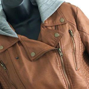 Xhileration Caramel Faux Leather Hooded Jacket